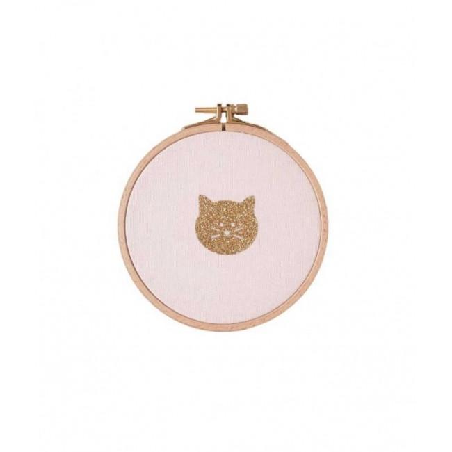 Cadre petit chat rose et doré