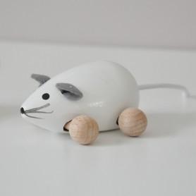 Jouet en bois  - petite souris blanche