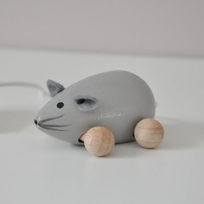 Jouet en bois  - petite souris grise