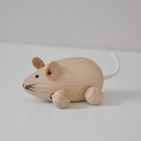 Jouet en bois  - petite souris naturel