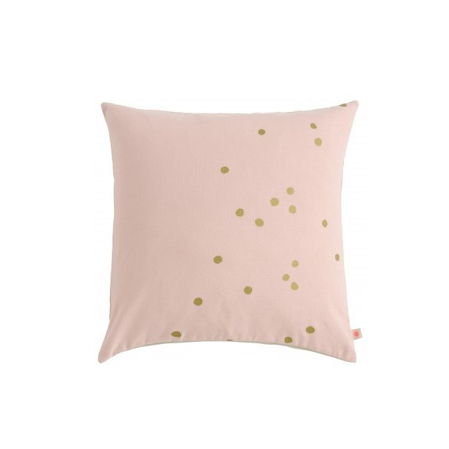 Housse de coussin Lina biscuit pois or