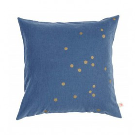 Housse de coussin Lina blueberry pois or