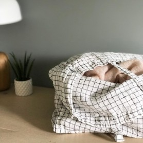 Grand sac cabas en lin lavé à carreaux