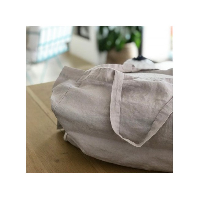 Grand sac cabas en lin lavé gris craie