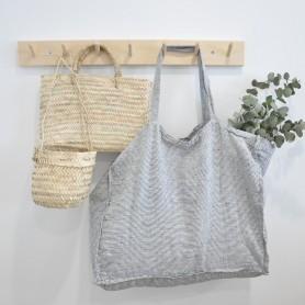 Grand sac en lin lavé rayures blanc et noir chiné