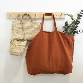 Grand sac en lin lavé couleur rouille