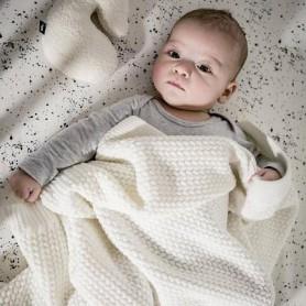 Couverture bébé en coton tout doux écru