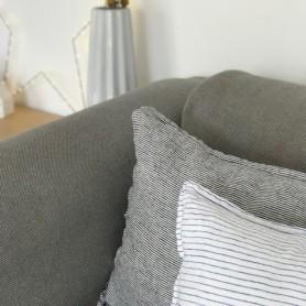 Housse de coussin en lin lavé rayure noir et blanc