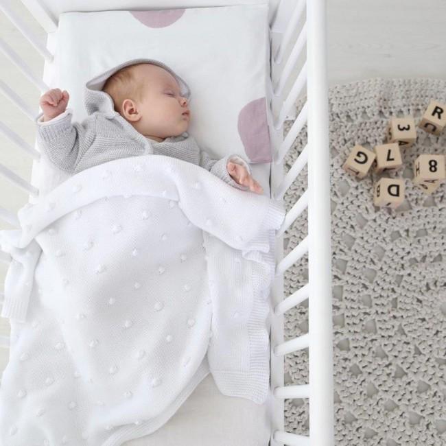 couverture en coton popcorn ooh noo blanc. Black Bedroom Furniture Sets. Home Design Ideas
