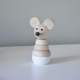 Jouet en bois à empiler - Souricette bois et blanc