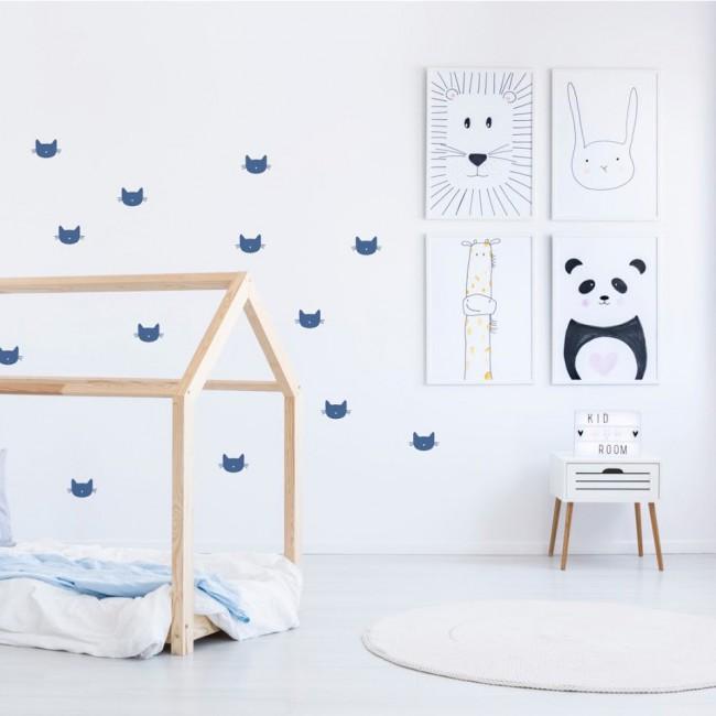 Stickers enfant chat bleu
