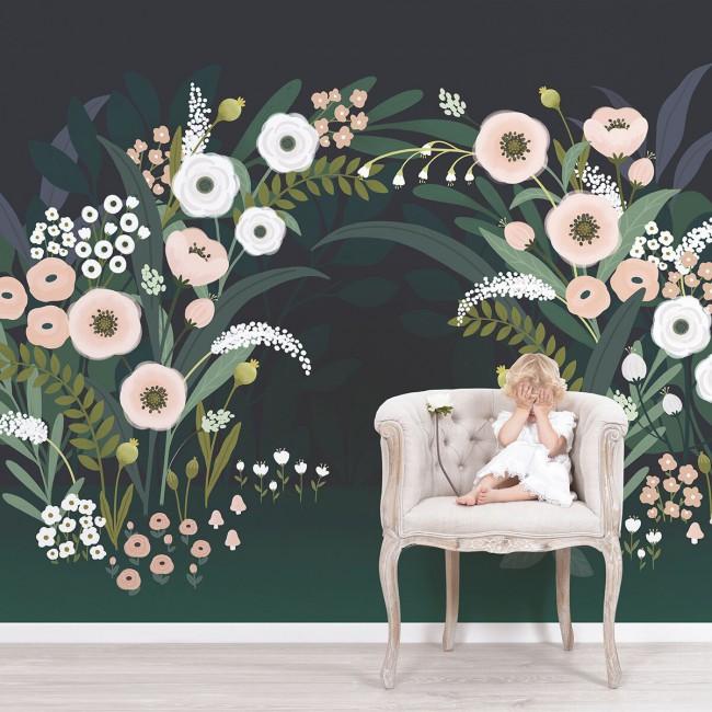 Papier peint décor floral
