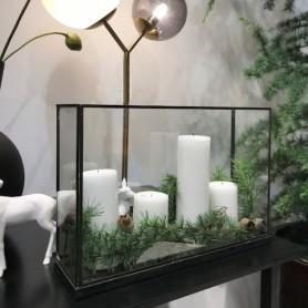 Vitrine décorative en verre et métal noir