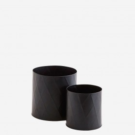 Lot de 2 caches pots en métal noir motifs arlequin