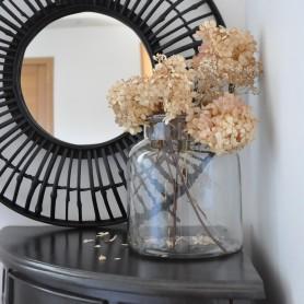 grand miroir rond en bambou noir