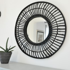 Miroir rond en bambou noir