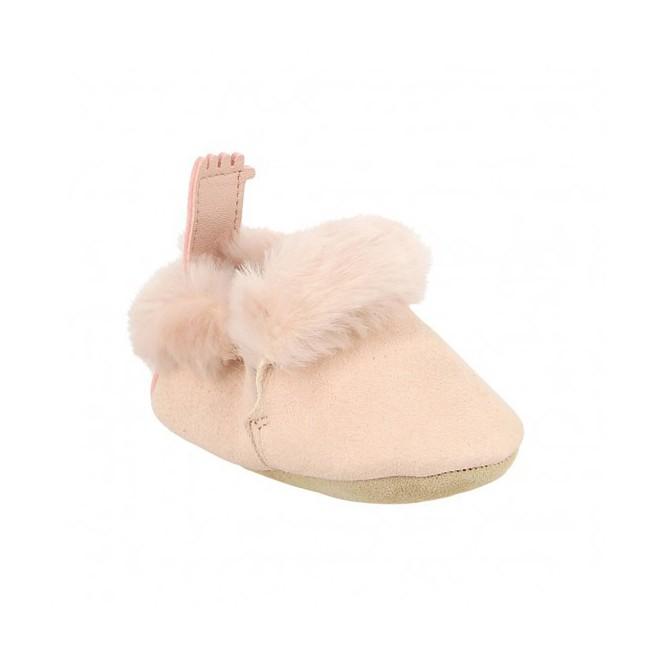 Chaussons bébé fourrés - Minion rose baba