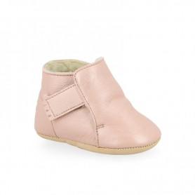 chaussons bébé cuir fourrés - cosimoo rose baba