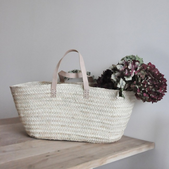 Panier marocain anses en cuir - shopping