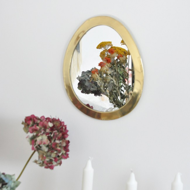 Miroir marocain forme egg cadre laiton