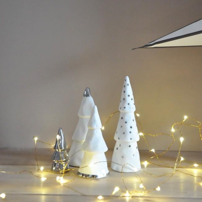 Forêt de Noël en porcelaine argenté