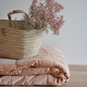 Plaid dessus de lit nude velours et coton