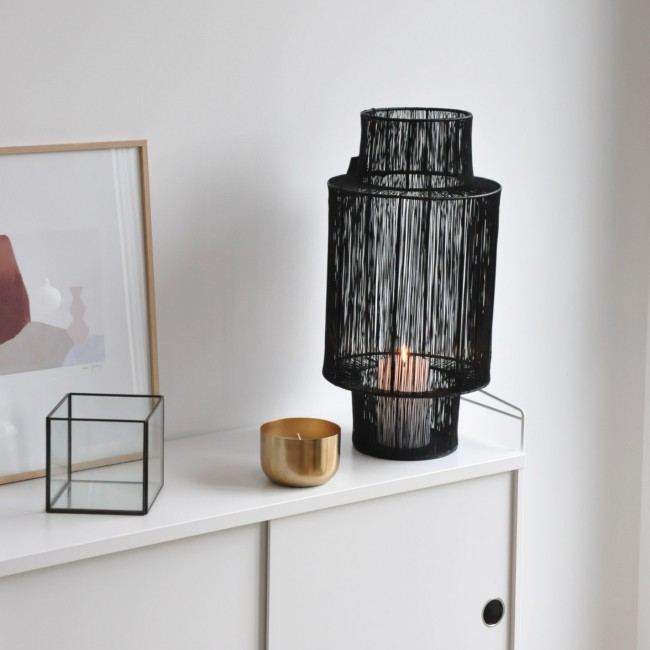 Lanterne photophore en métal noir Tabia