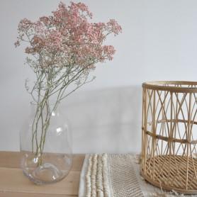 Grand vase en verre rose poudré