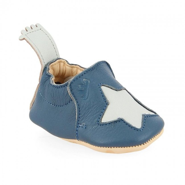 Chaussons bébé cuir Blumoo étoile bleu denim