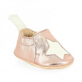 Chaussons bébé cuir Blumoo étoile rose irisé