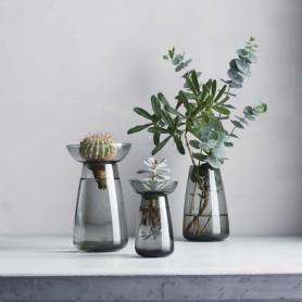 vase aqua culture en verre fumé