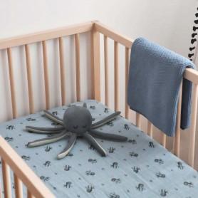 Doudou hochet pieuvre bleue - Fabelab