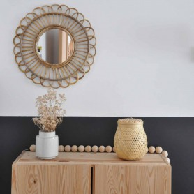 Miroir en bambou naturel Rond