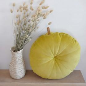 Coussin rond en velours jaune Liv Interior