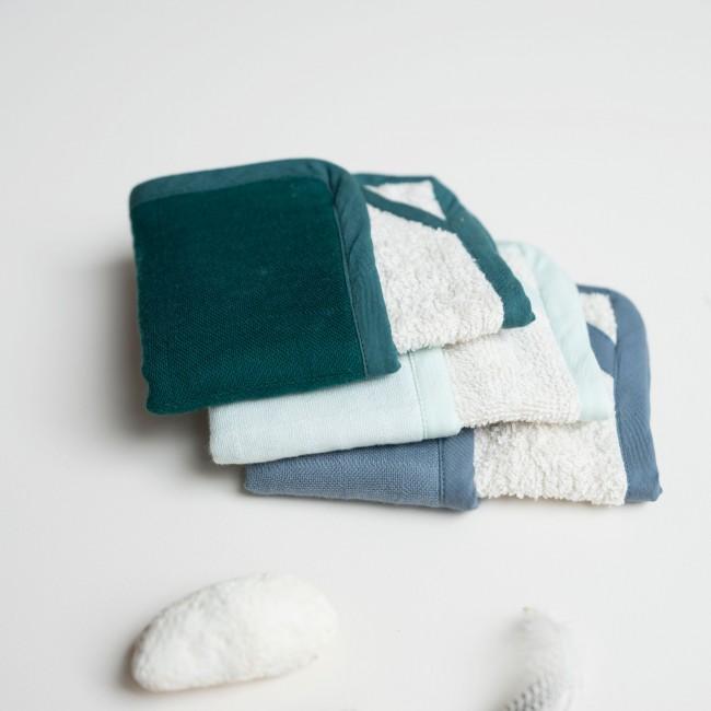 Lingette bébé lavable coton bio set de 3 Bleu