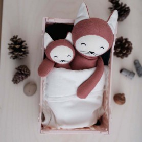 Doudou poupée renard rose argile - Fabelab