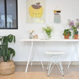 Chaise de bureau en métal blanc