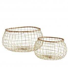 Panier rond grillagé et bambou