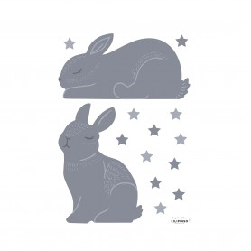 Sticker enfant lapin Adèle - Bleu orage