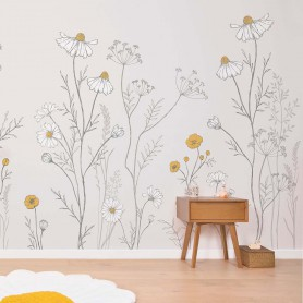 Papier Peint décor mural Fleur Camomille