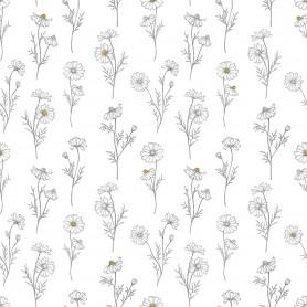 Papier Peint fleurs de Camomille fond blanc