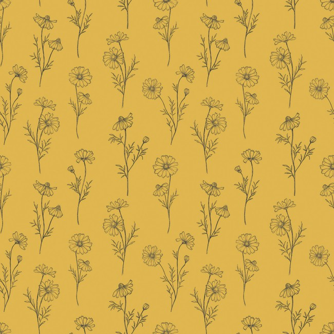 Papier peint fleurs de Camomille - fond jaune