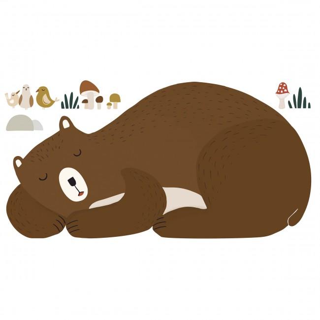 Sticker déco enfant ours endormi