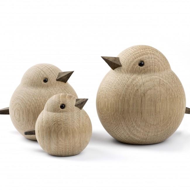 Oiseau en bois de chêne naturel Sparrow