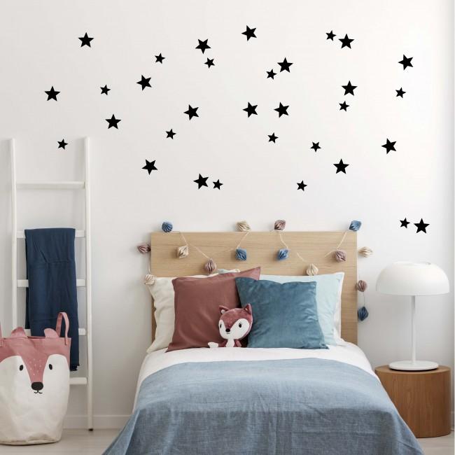 Stickers enfant étoiles régulières - Noir