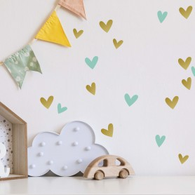 Stickers enfant cœurs - or et vert