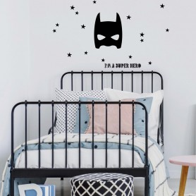Grand Stickers Décoratif Super Héros - Noir