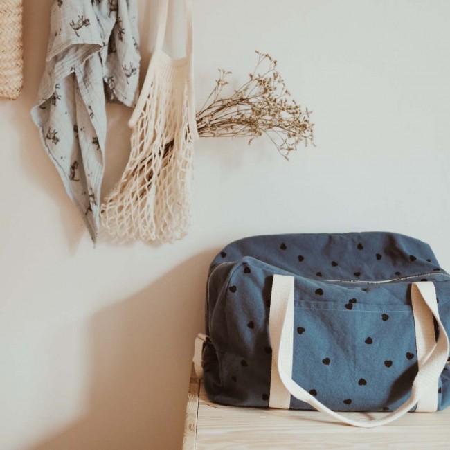 Sac à langer ou sac de voyage enfant - cœur bleu