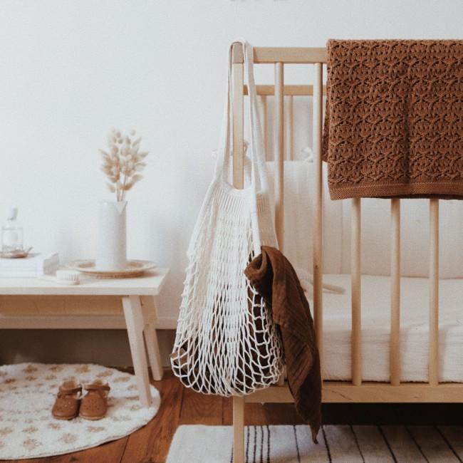 Couverture bébé dentelle - Noisette