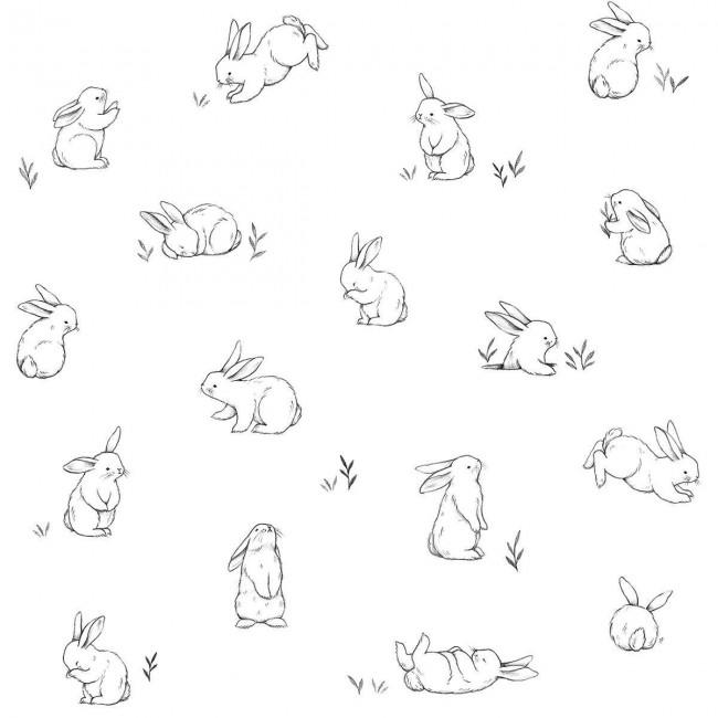 Papier peint enfant petit lapin éparse